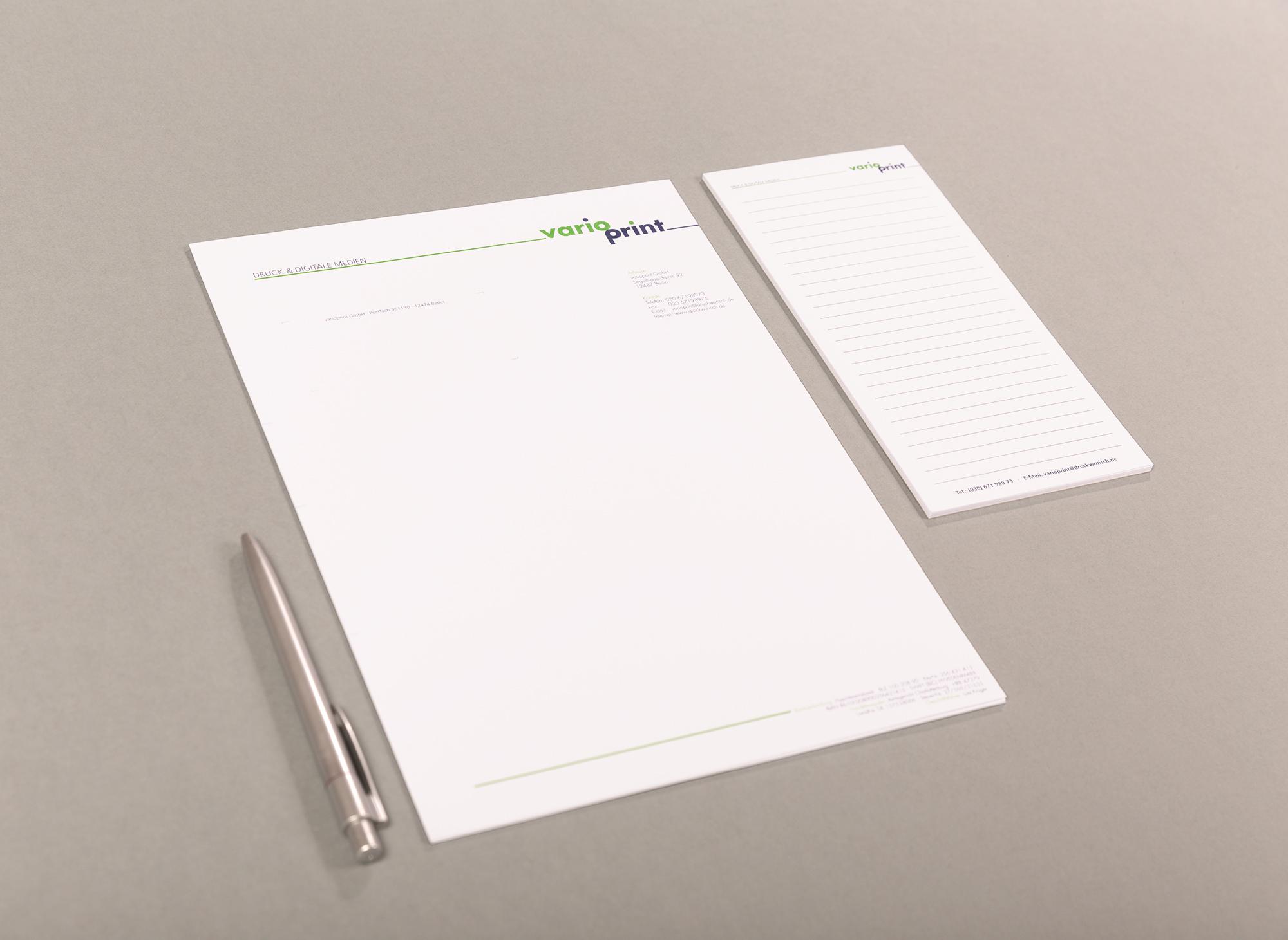 Briefbogen oder Kopfbogen oder Logopapier